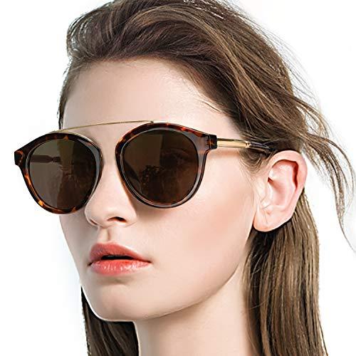 DukeIo Round Sunglasses for Women Fashion-Vintage Retro Stylish Polarized Eyewear 100% UV Protection ()