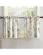 "No. 918 Hoot Owl Print Kitchen Curtain Tier Pair, 56"" x 24"", Mocha Brown"