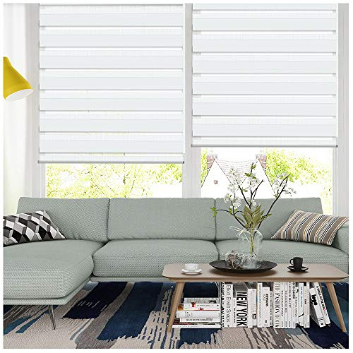 LUCKUP Horizontal Window Shade Blind Zebra Dual Roller Blinds Day and Night Blinds Curtains,Easy to Install 19.7″ x 59″, White