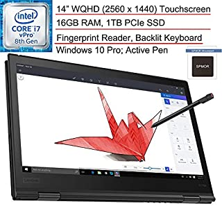 "2020 Lenovo ThinkPad X1 Yoga 3rd Gen 14.0"" WQHD (2560 x 1440) Touchscreen 2-in-1 Business Laptop Computer/ Intel Quad-Core i7 8650U up to 4.2GHz/ 16GB RAM/ 1TB PCIe SSD/ Win10 Pro/ SPMOR Mouse Pad"