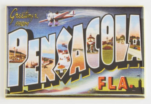 Greetings From Pensacola Florida Fridge Magnet (2.5 x 3.5 inches) (Pensacola Stores)
