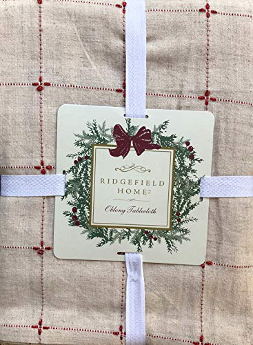 - Ridgefield Home Fabric Cotton/Flax Blend Christmas Holiday Pattern Tablecloth Thin Metallic Red Stripes on Tan 60 Inches by 108 Inches