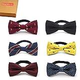Elesa Miracle Baby Boy Gift Box with Pre-tied Adjustable Neck Strap Tie Boys Bow Tie Value Set, Set of 6 (Set B)
