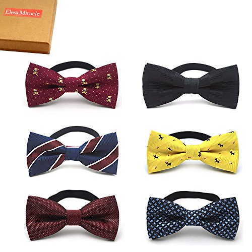 Elesa Miracle Baby Boy Gift Box with Pre-tied Adjustable Neck Strap Tie Boys Bow Tie Value Set, Set of 6 (Set B)