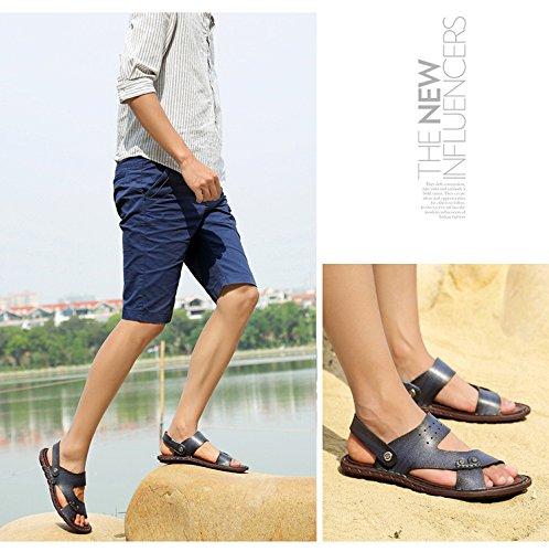 Sandali di sandali di fibra di estate degli uomini di estate Scarpe da spiaggia esterne Beach Sandali di piacere Doppio scopo, blu, UK = 7.5, EU = 41 1/3