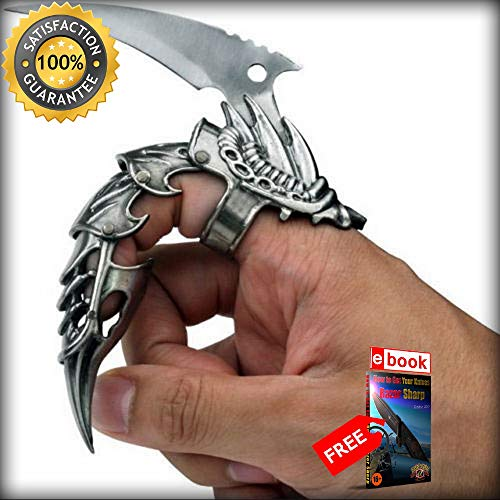5.5'' IRON REAVER STAINLESS STEEL BLACKENED SILVER FINGER CLAW Combat Tactical Knife + eBOOK by Moon Knives