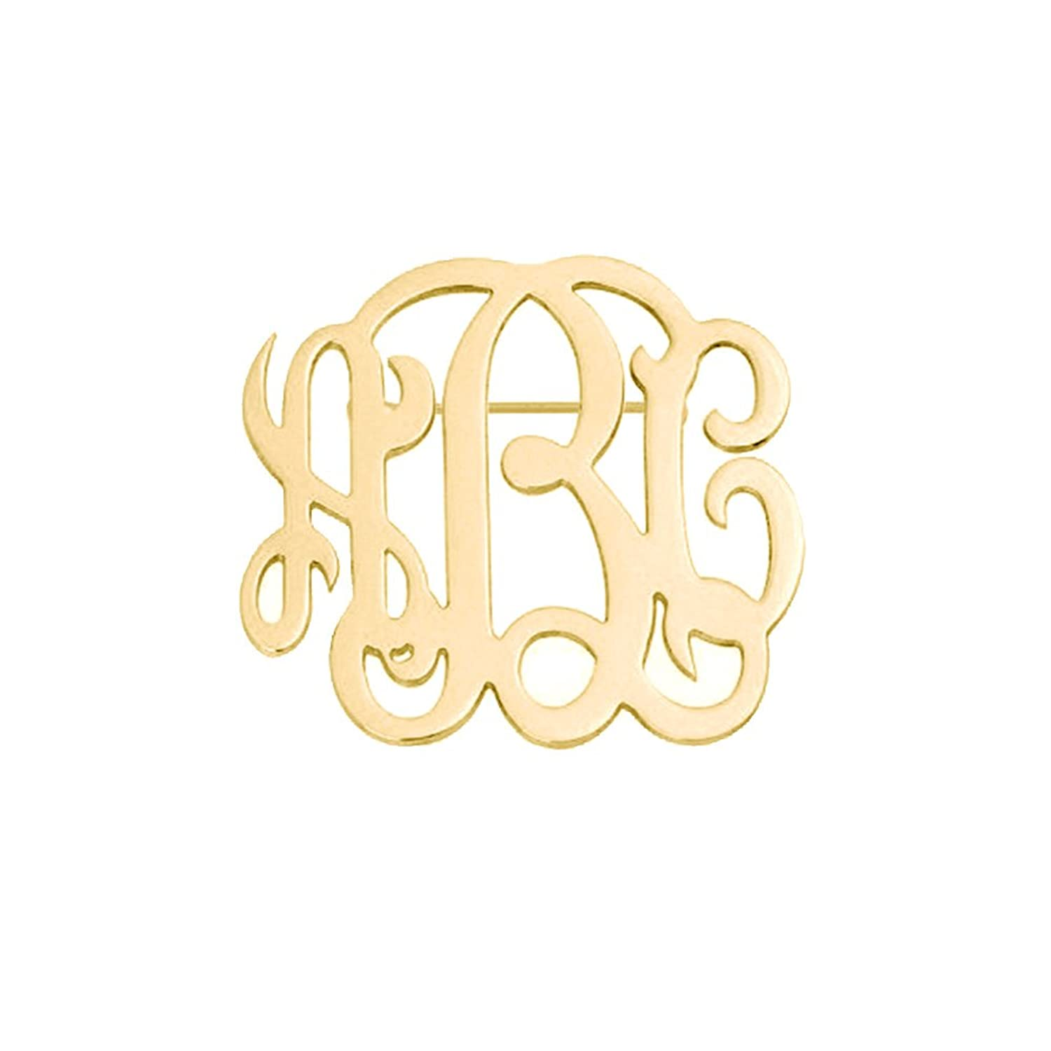 Ouslier Personalized 925 Sterling Silver Monogram Brooch Pin Custom Made with 3 Initials
