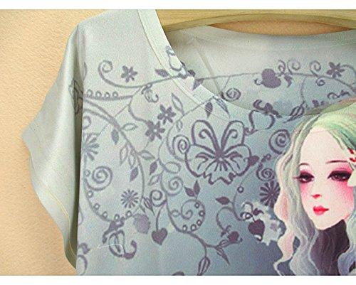 chaleco con manga redondo camiseta de Top Acvip y de Camiseta cuello de mujer verano corta para wn1zqxpB