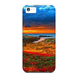 Tpu Fashionable Design Flowers On A Rocky Shore Hdr Rugged Case Cover For Iphone 5c New by mcsharks