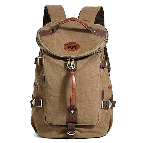 KAUKKO Classic Canvas Backpack Travel Hiking Bag Rucksack Outdoor Sports Satchel Khaki