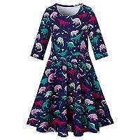RAISEVERN Girls Short Sleeve Dresses Kids Toddler Skirt Causal Party Summer Sundress 4-13 Years Old