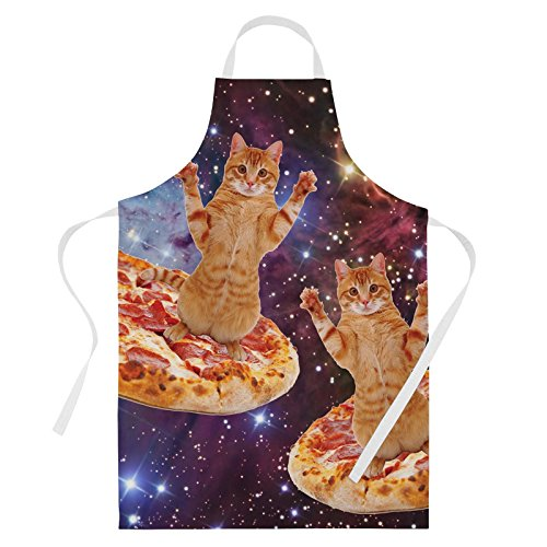 Baking Aprons Cooking Aprons for Women Cute Aprons Kitchen Gift Pizza Space Cat ()