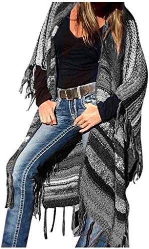 BaZhaHei Cardigan de Mujer Multicolor Imprimir de Moda y Vintage ÉTnico Viento Tejido Cardard Manga Borla Abrigo de Rebeca con Camisa de MurciéLago Abrigo de Invierno de Talla Grande para Mujer: Amazon.es: