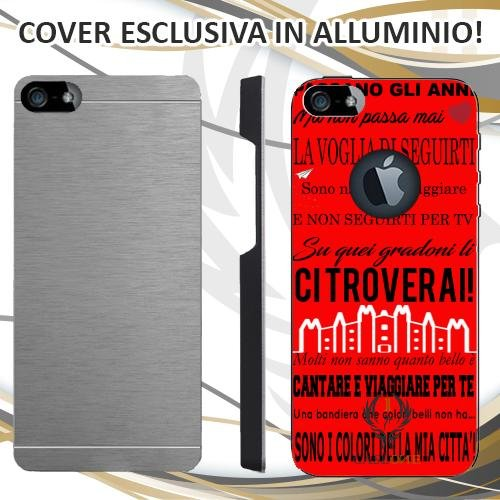 CUSTODIA COVER CASE CORO ULTRAS MILAN ROSSO PER IPHONE 5 5S IN ALLUMINIO