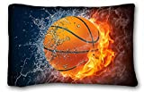 Tarolo Fashion Pillow Case Cover Flaming Basketball Fire And Water Fashion Design Size 20x30 Inches One Sided Print