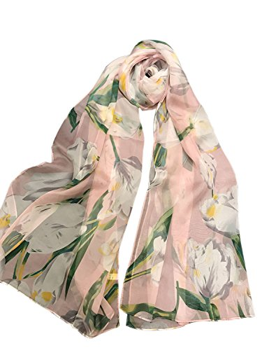 Clothink Women's 100% Mulberry Silk Pink Tulip Floral Print Long Scarf Shawl (Print Long Scarf)