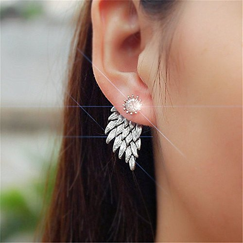 Pakdeevong shop 2016 new fashion punk black gold silver Plated Gothic Women's Feather Wing Decoration Feather Rhinestone Rhinestone Rhinestone Earrings Gifts.]()