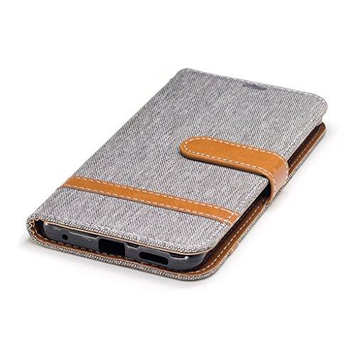Trumpshop Smartphone Carcasa Funda Protección para LG G6 [Púrpura] Estilo Vaquero PU Cuero Caja Protector Billetera Choque Absorción Gris