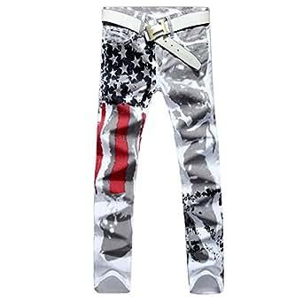 Longe Men Casual American USA Flag Printed Washed Jeans Pants Mens Graffiti Print White Hip-hop Fashion Jean Slim Fit Trousers (28, White)
