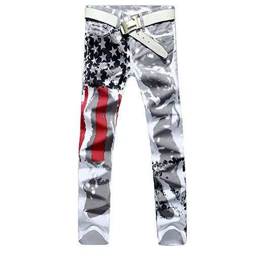 Longe Mens American USA Flag Printed Washed Jeans Pants White Fit Trousers