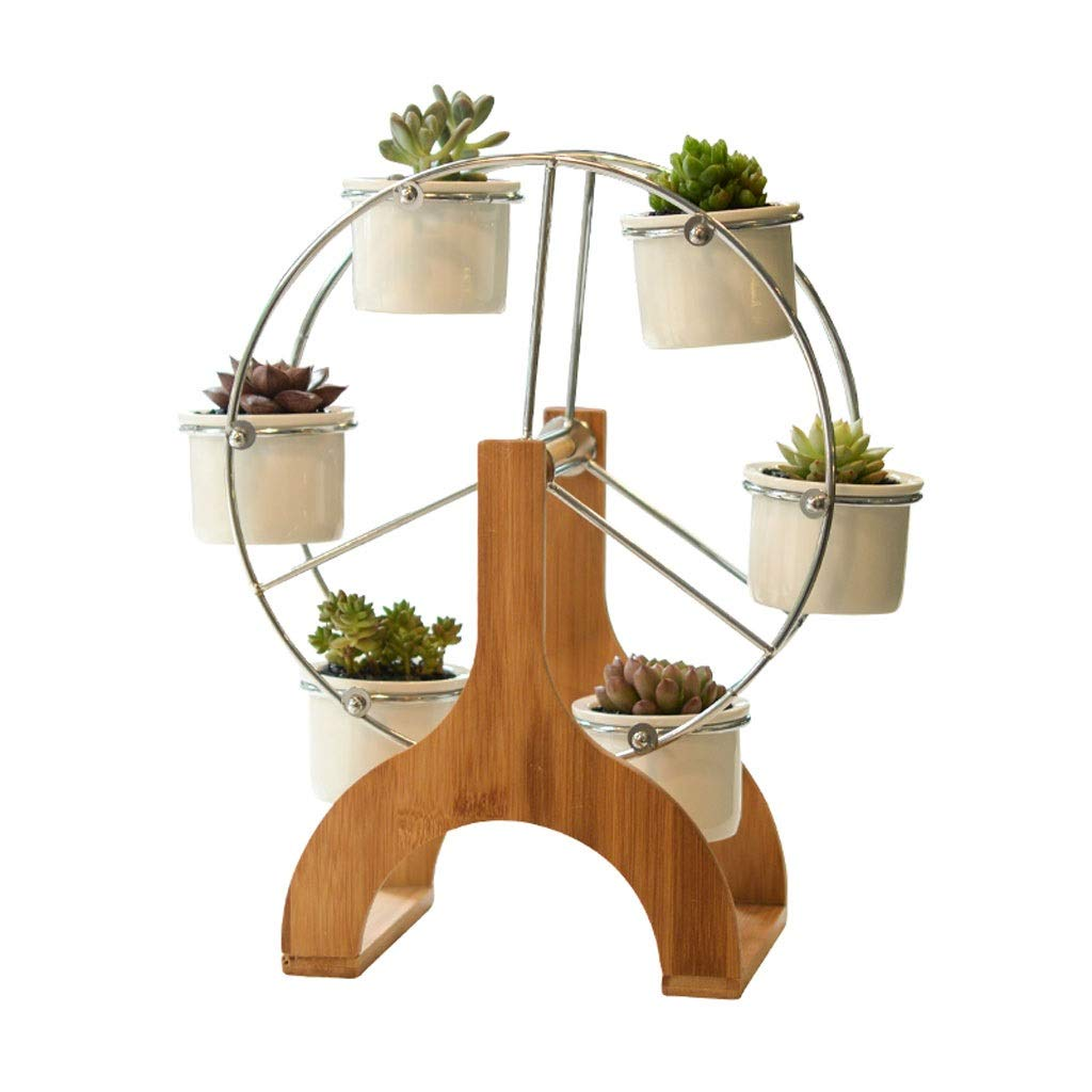 TMY Decorative Plant Stand Ceramic Flowerpot Succulent Plant Pot 6 Flower Planter with 1 Bamboo Ferris Wheel Stand Flower Pot by TMY