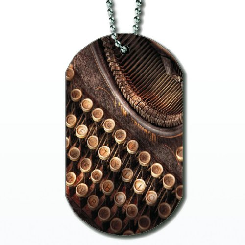 Steampunk Typewriter – Dog Tag Necklace