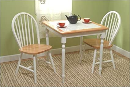 Dining Set   Table And Two Chairs   Tile Top Table (White) (Sizes