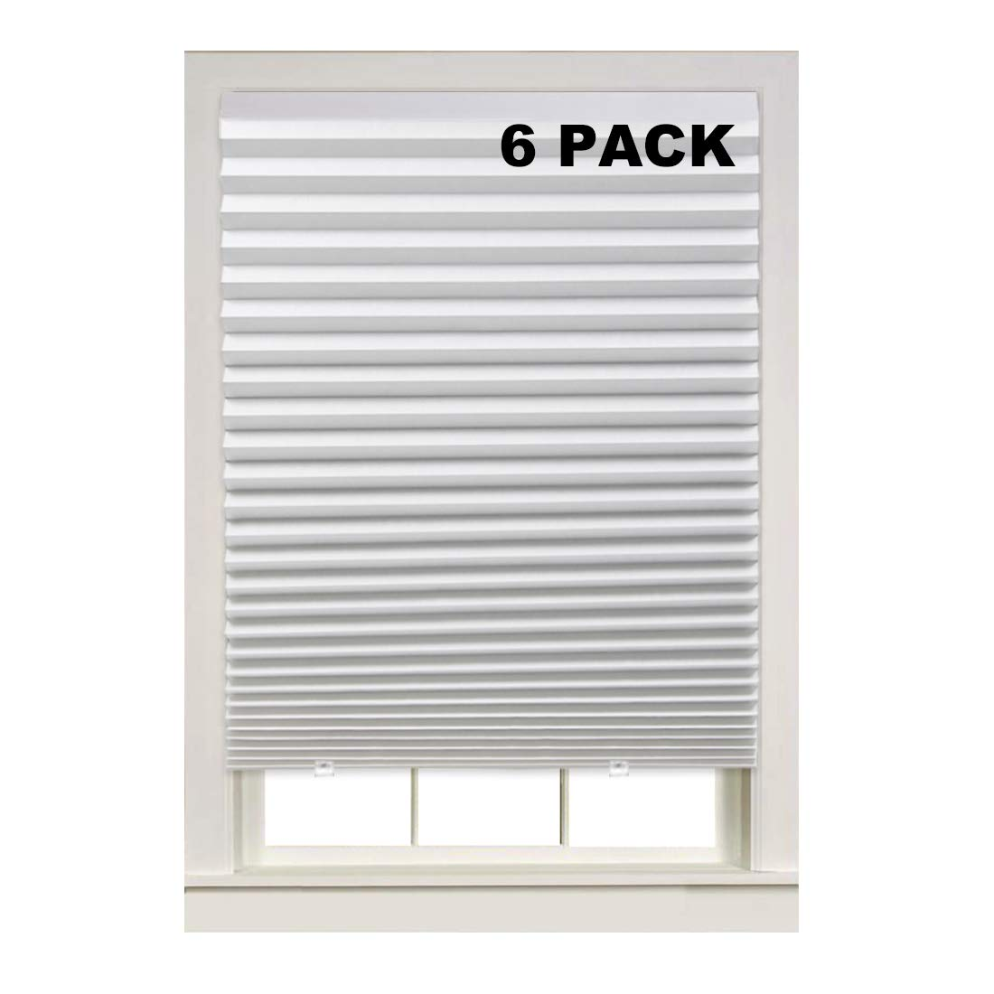Turquoize Light Filtering Temporary Pleat Paper Shades, White, Quick Fix & Easy to Install, 36'' x 72'', 6-Packs, with 12 Clips