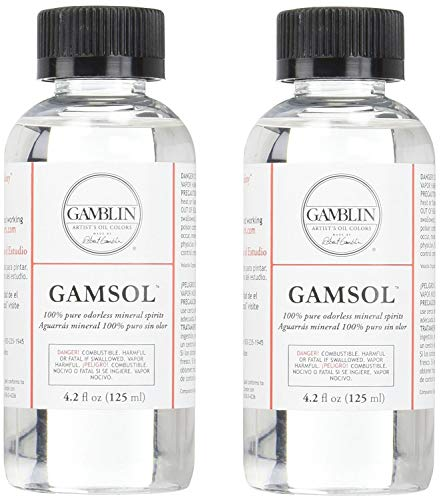 Gamblin Gamsol Odorless Mineral Spirits Bottle, 4.2oz (2-(Pack))
