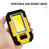 Portable LED Work Light, WARSUN Rechargeable Work Light,Magnetic Base & Hanging Hook,1200 Lumens Multi-use COB,Battery-Operated 5000K Daylight,for Car Repairing, Blackout and Emergency