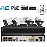 Camius 4MP PoE IP Security Camera System with Hard Drive 2TB, 8-Channel NVR PoE, 2 x 4MP Outdoor Cameras and 2 x 4MP Vandalproof Dome, 2.8-12mm Varifocal lens, Super HD 2592x1520 100ft