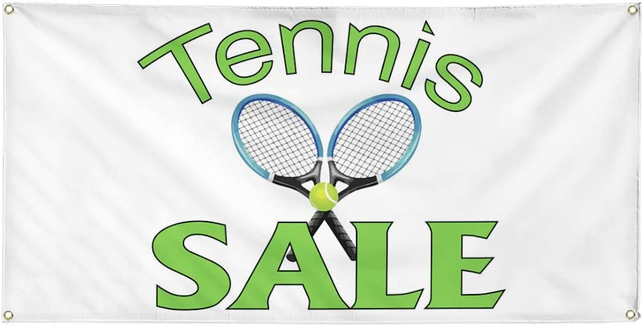 Vinyl Banner Multiple Sizes Tennis Sale Business B Business Outdoor Weatherproof Industrial Yard Signs White 8 Grommets 48x96Inches