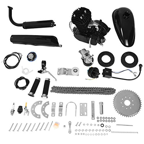 50cc Bike Bicycle Engine Kit, Motorized Bike 2-Stroke, Petrol Gas Engine Kit, Scooter Parts, Cycle Motor Engine Kit Set for Motorized Bike (Shipped from US) (Black, 50cc) (Go Kart Kits For Sale With Engine)