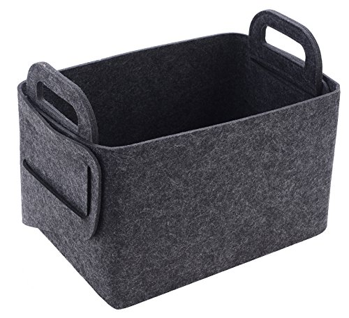 Storage Basket Felt Storage Bin Collapsible & Convenient Box Organizer with Carry Handles for Office Bedroom Closet Babies Nursery Toys DVD Laundry Organizing -
