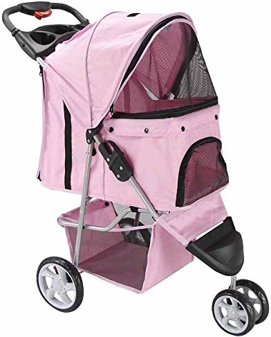 WW shop 3 Wheel Pet Stroller Cat Dog Walk Jogger Travel Folding Carrier Pink Newpng