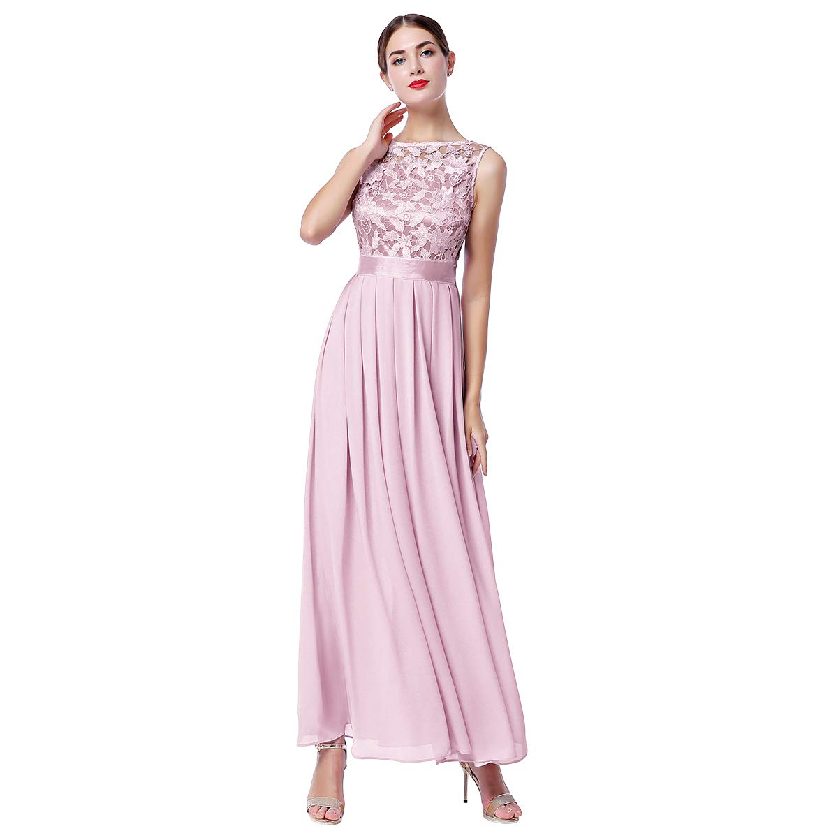 Women Lace Chiffon Bridesmaid Long Dress Sleeveless Cocktail Party Formal Gown
