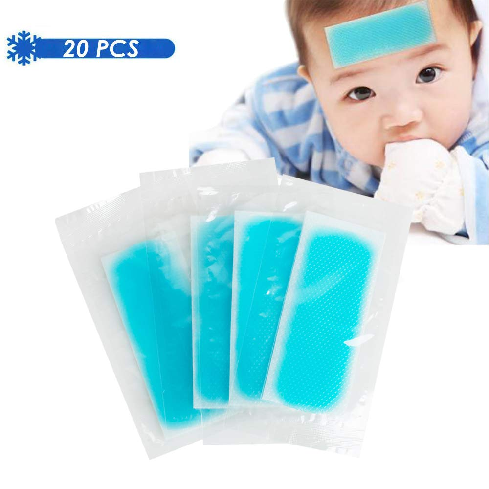 Fever Cooling Fever Patch, Cooling Forehead Strips Relieve Headache Migraine Headache Soothing Gel Pads, Adult/Children's Instant Pain Relief for Toothache Pain,Drowsiness, Sunstroke Pack of 20 PCS