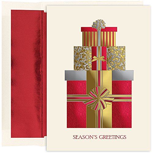 Package Holiday Card - Great Papers! Holiday Greeting Card, Pretty Packages, 16 Cards/16 Foil-Lined Envelopes, 5.625