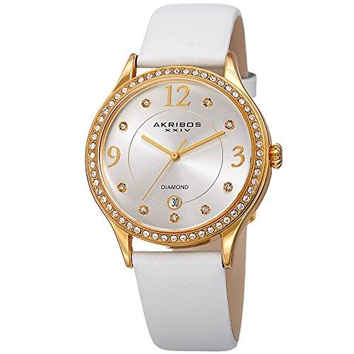 Akribos Swarovski Crystal Women s Watch – Diamond Markers On A Sunray Dial – Genuine Leather Strap Watch – AK1011