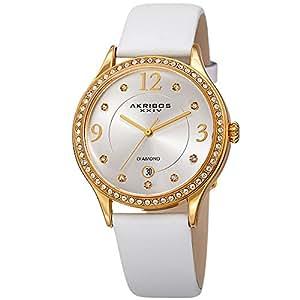 Akribos XXIV Women's Quartz Diamond & Swarovski Crystal Leather Strap Watch - AK1011WT (White)