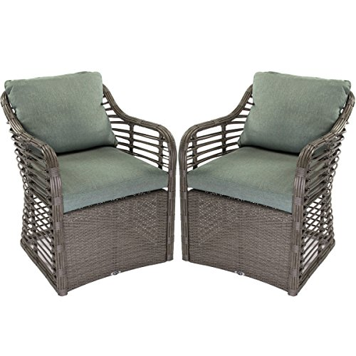 Hampton Bay (Set of 2) Outdoor Wicker Lounge Chairs Cushions Resin Garden Patio (Bay Dining Set)
