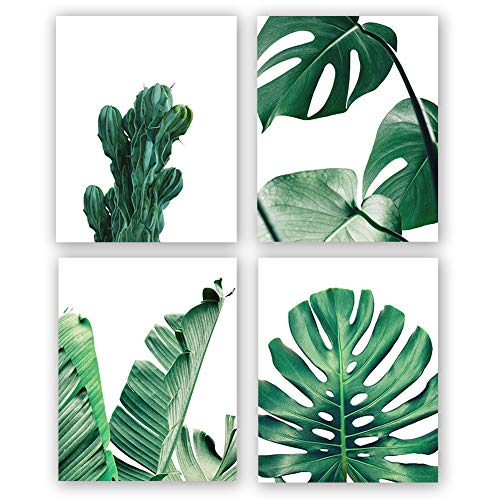 HOME_PLAY Modern Green Leaf Art Print Set of 4 (10X8Leaves Canvas Painting Wall Art Botanical Art Painting Nature Wall Art Posters and Prints Nordic Wall Pictures for Living Room, No Frame