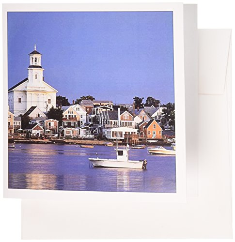 3dRose USA Cape Cod Massachusetts Provincetown Harbor and Town Greeting Cards, Set of 12 (gc_192153_2) Provincetown Cape Cod
