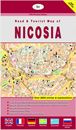 Nicosia Town and District Cyprus Road Tourist Maps