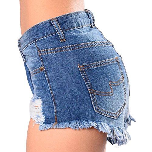 Mujeres Elásticos Corto Estilo Skinny Azul Rotos Shorts Clásico Para Vaqueros 4HEHRqwF