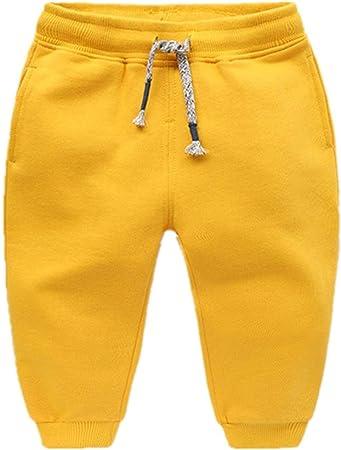 Pantalones de chándal de algodón para niños Pantalones de chándal de Cintura Ajustable Pantalones (Color : Amarillo, tamaño : 90): Amazon.es: Hogar