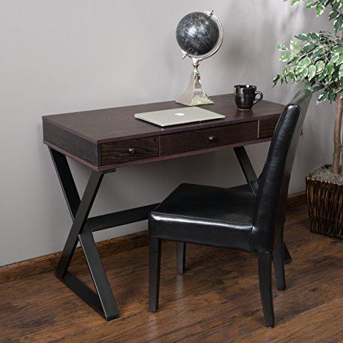 Geena 3 Drawer Dark Brown Wood Writing Desk by Great Deal Furniture