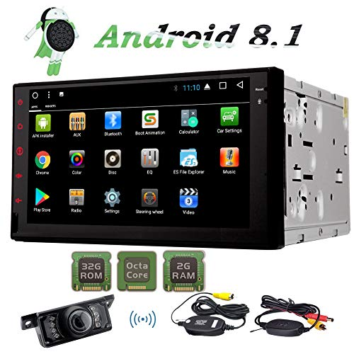 Android 8.1 Car Navigation Double Din Car Stereo Octa Core 2 Din AM FM RDS Radio support GPS WiFi 4G Mirror Link Bluetooth Subwoofer SWC OBD2 DVR Video Out with Free Wireless Rear View Camera