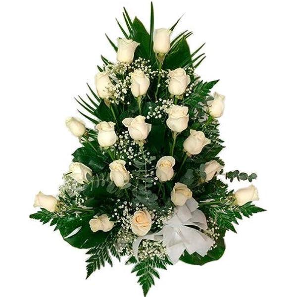 Florclick - Centro 12 rosas blancas - Flores naturales a domicilio en 24h y ENVÍO GRATIS: Amazon.es: Jardín