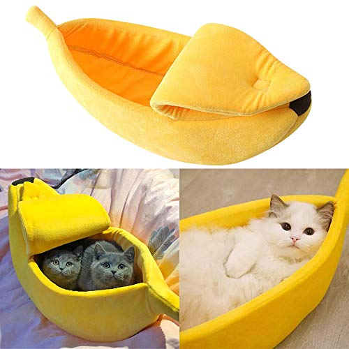 Pet Dog Cat Banana Bed House Pet Boat Dog Cute Cat Snuggle Bed Soft Yellow cat Bed Sleep Nest for Cats Kittens Ideal (To Me A Hammock Where Near Buy)